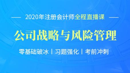 2020年注会战略习题强化班第十二讲